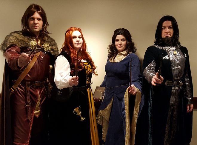 Hogwarts House founders cosplay, featuring Xander, Brett, Ash, and Troy