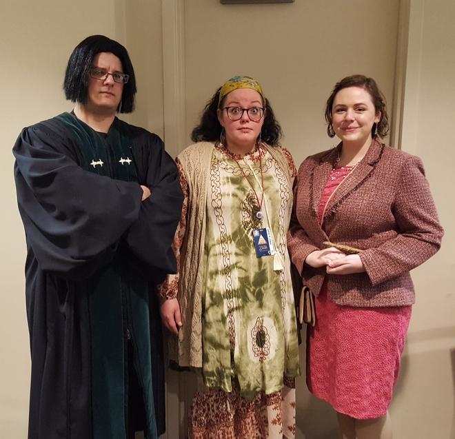Severus Snape, Sybill Trelawney, and Dolores Umbridge cosplay