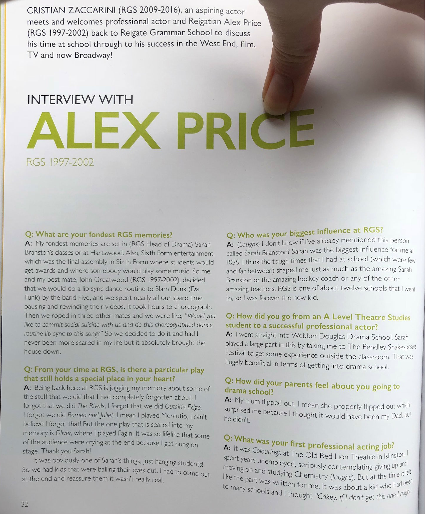 "Alex Price's (Draco Malfoy, ""Cursed Child"") interview with the ""Reigatian""."