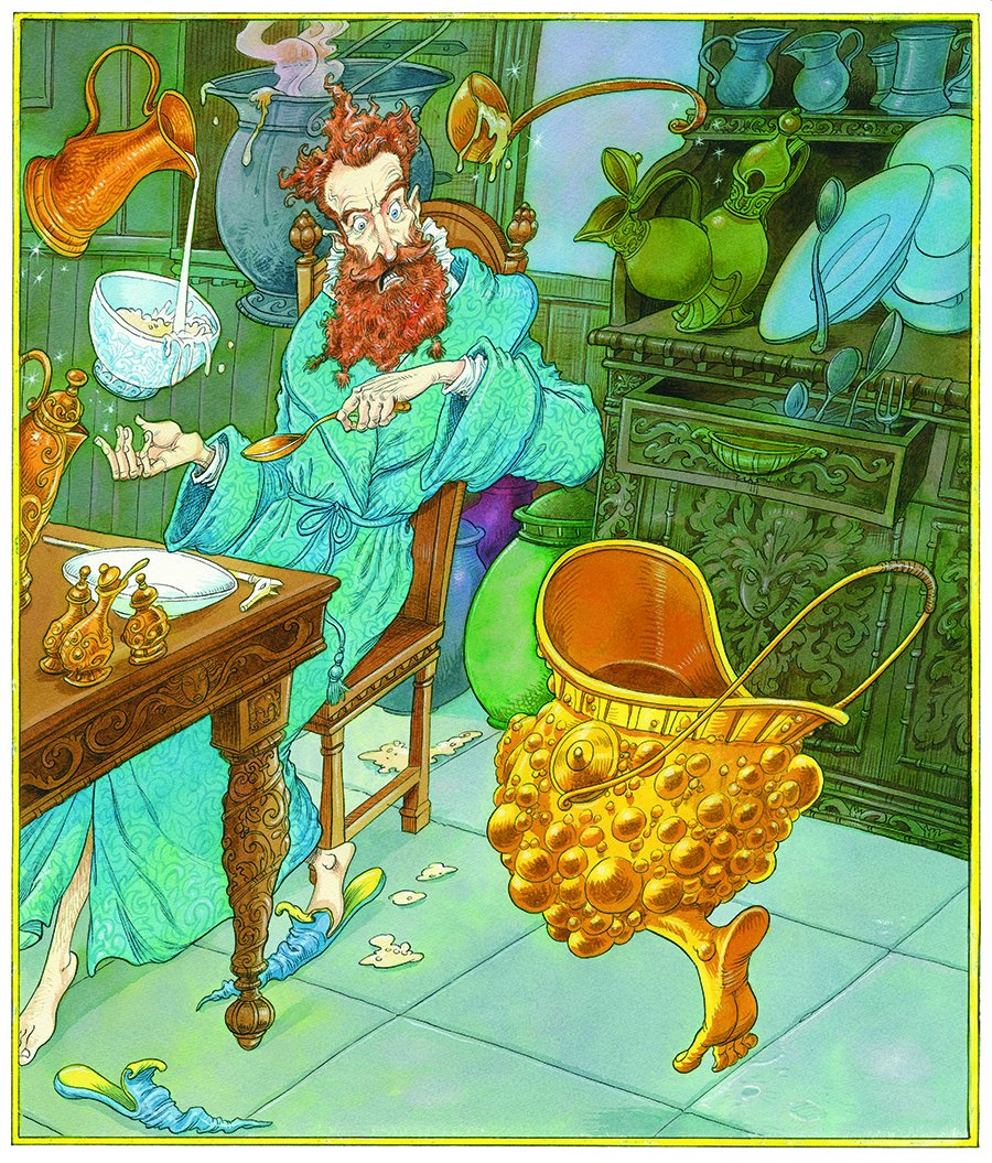 The Wizard and the Hopping Pot Illustration