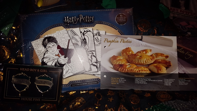 "Recipe, ""Harry Potter"" coloring pages, frog molds, pen, Head Boy and Girl pins"