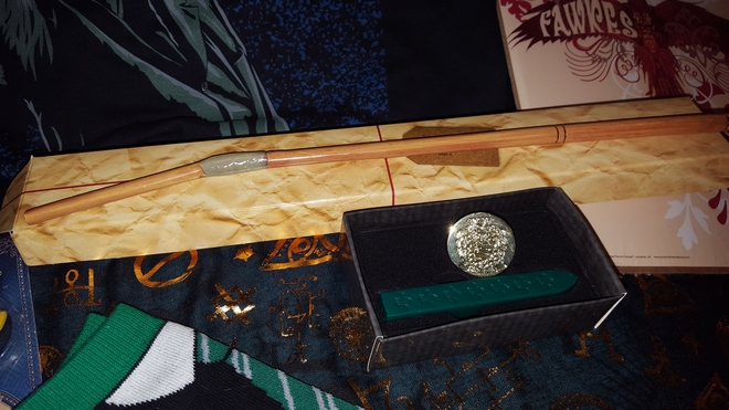 House socks, Ron's broken wand, Fawkes print, House wax stamp