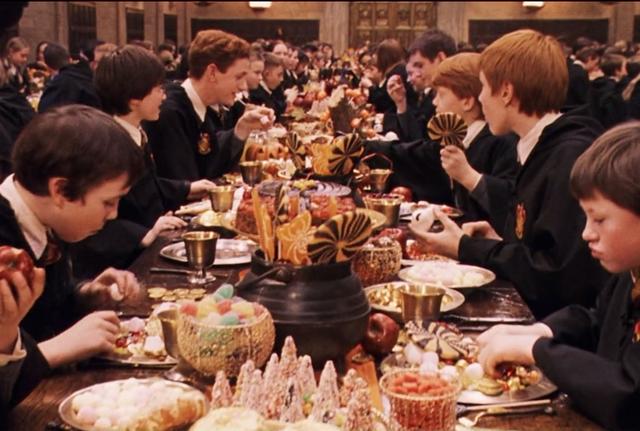 Hogwarts students enjoying the Halloween feast
