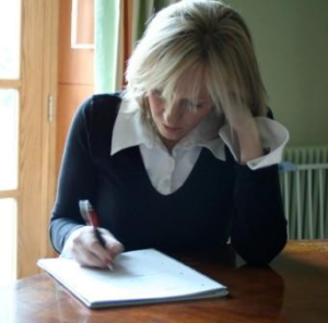 J.K. Rowling writing