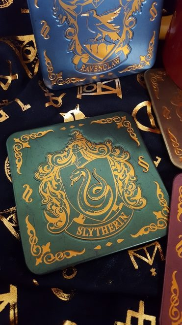 Slytherin coaster in green and gold