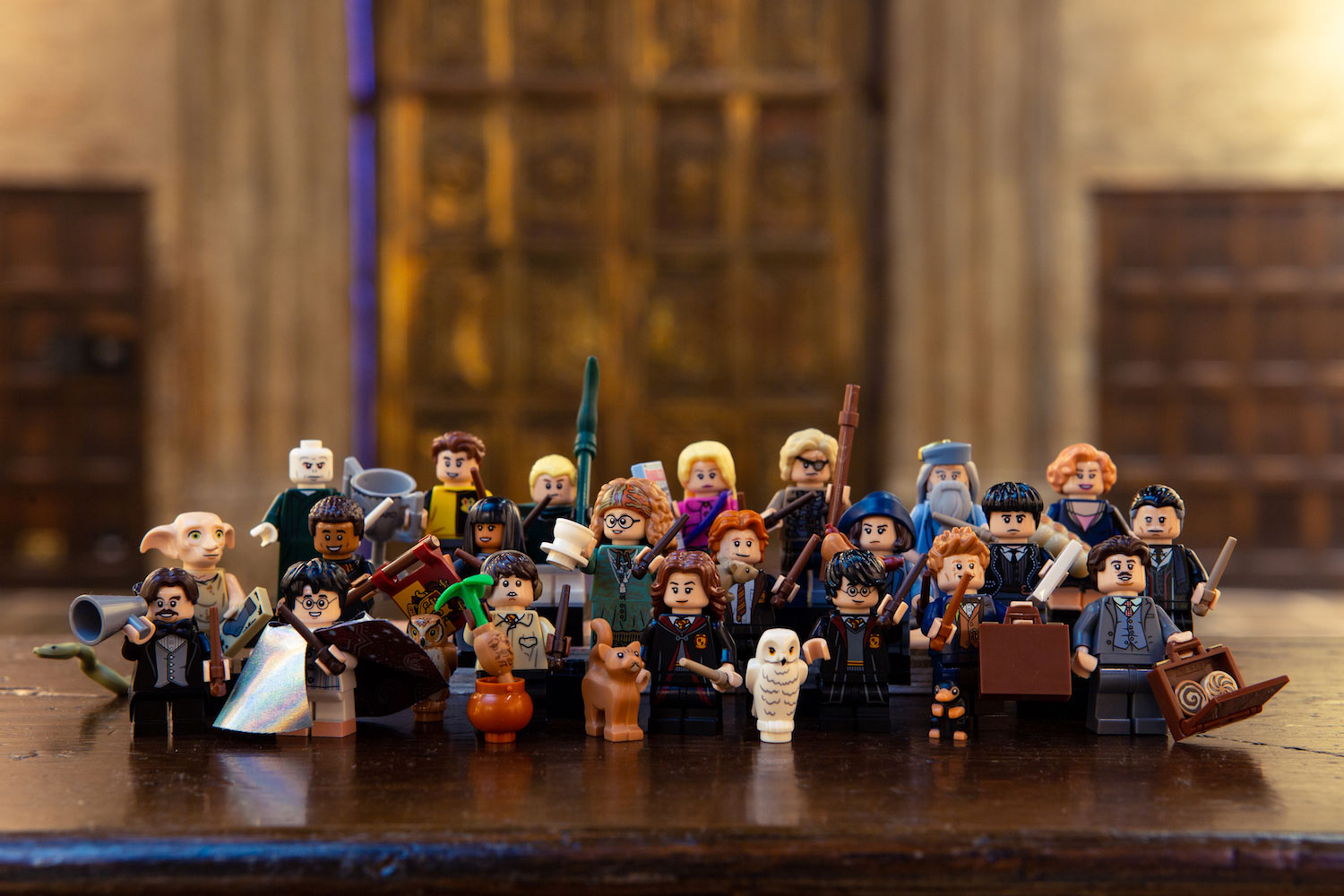 The complete LEGO minifigures wizarding world series – characters and props – is displayed at the Studio Tour.