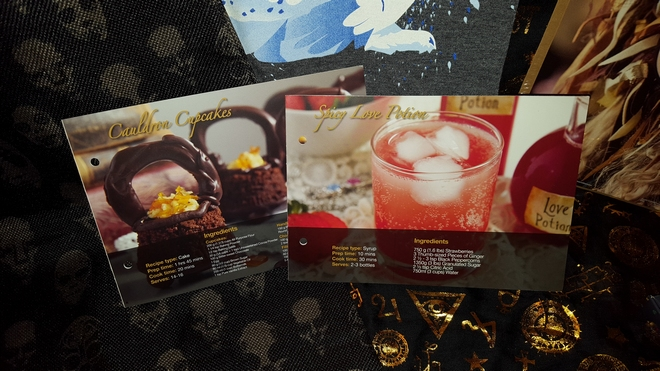 May's Geek Gear recipe cards, featuring Cauldron Cakes and Spicy Love Potion