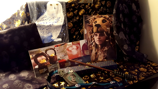 May's Geek Gear box, featuring Hedwig T-shirt, Death Eater cushion cover and scarf, recipe cards, Luna Lovegood print, Slytherin lanyard, and a wand