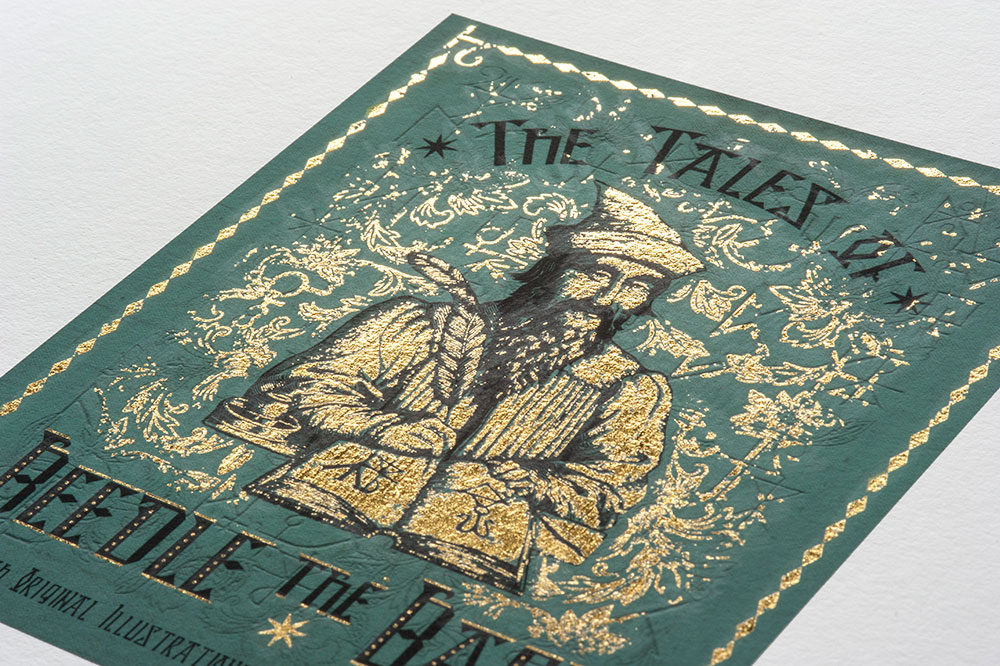 """During Golden Week, papercraft workshops will show visitors how to perfect the art of gold foiling, as seen on this shimmering """"The Tales of Beedle the Bard"""" print."""