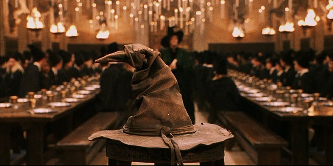 The Sorting Hat appears in front of the Great Hall set.
