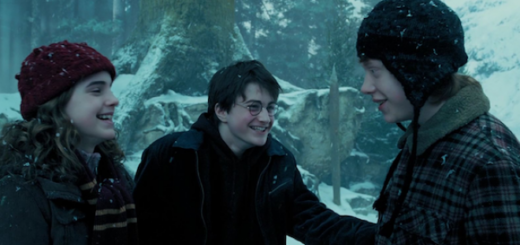 Harry Ron and Hermione laugh in the snow outside the Shrieking Shack
