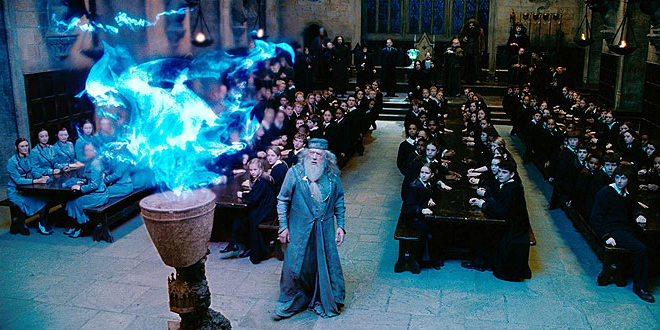 Dumbledore staring at the goblet of fire