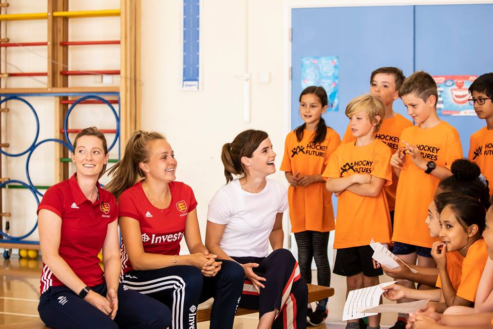 Emma Watson, Helen Richardson-Walsh, and Emily Defroand sit alongside the Thorpe Hall students.