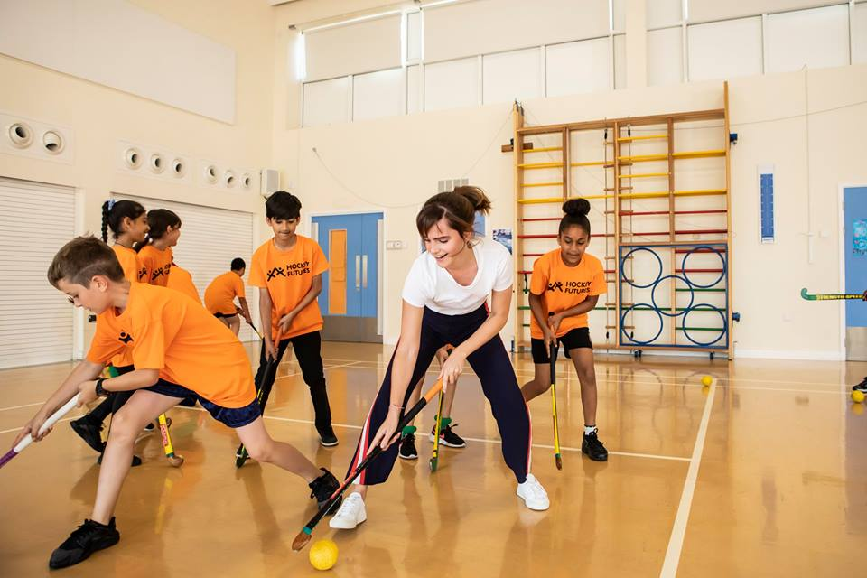 Emma Watson participates in a skills session alongside the Thorpe Hall students.