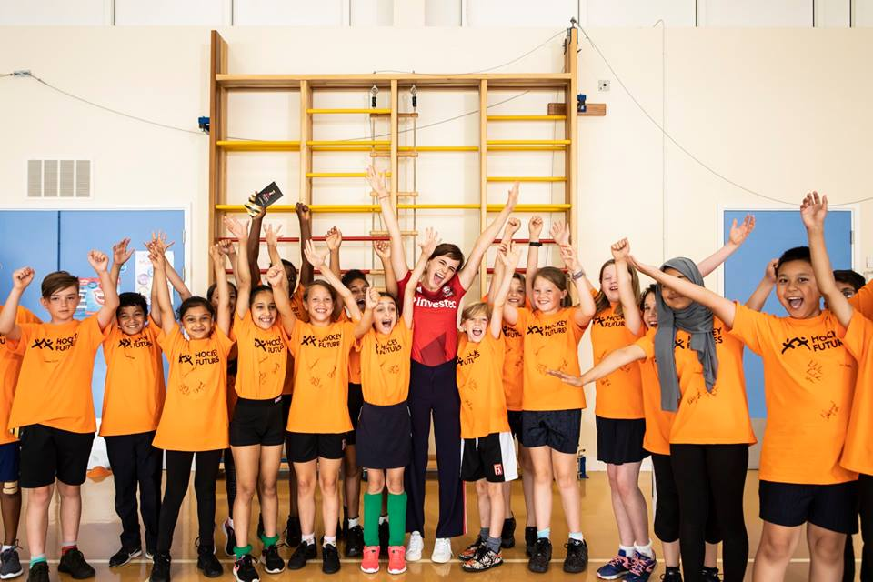 Emma Watson and the students from Thorpe Hall are very excited to participate in the Hockey Futures charity event.