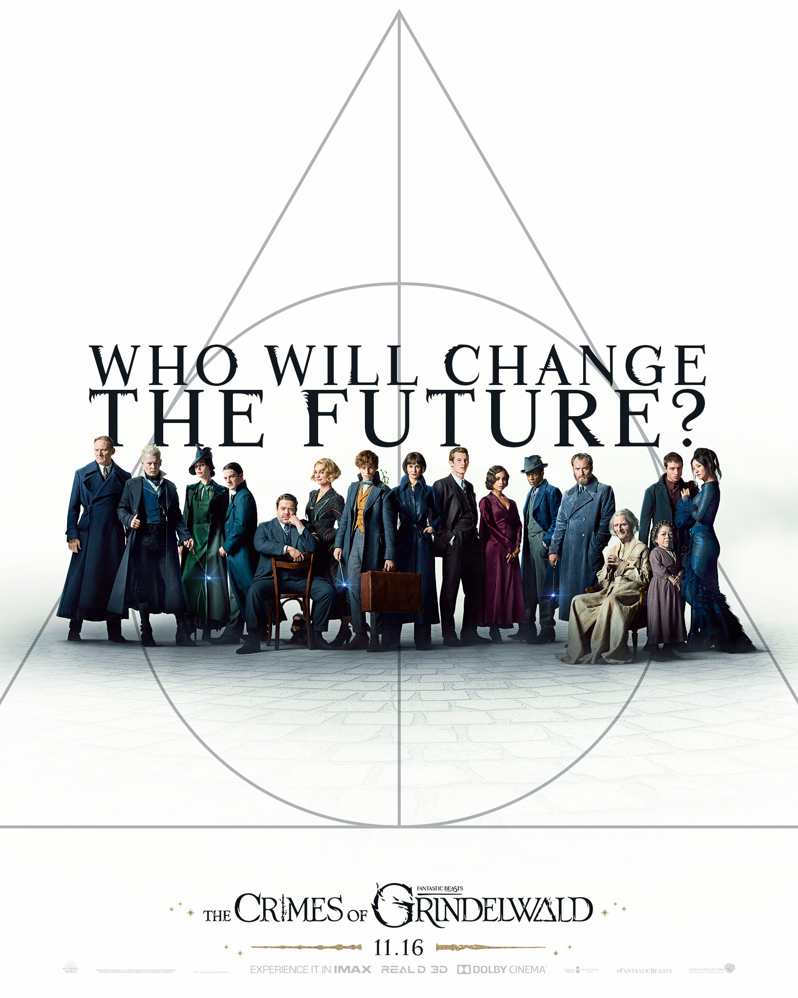 """Fantastic Beasts: The Crimes of Grindelwald"": ""Who will change the future?"" poster with main cast"