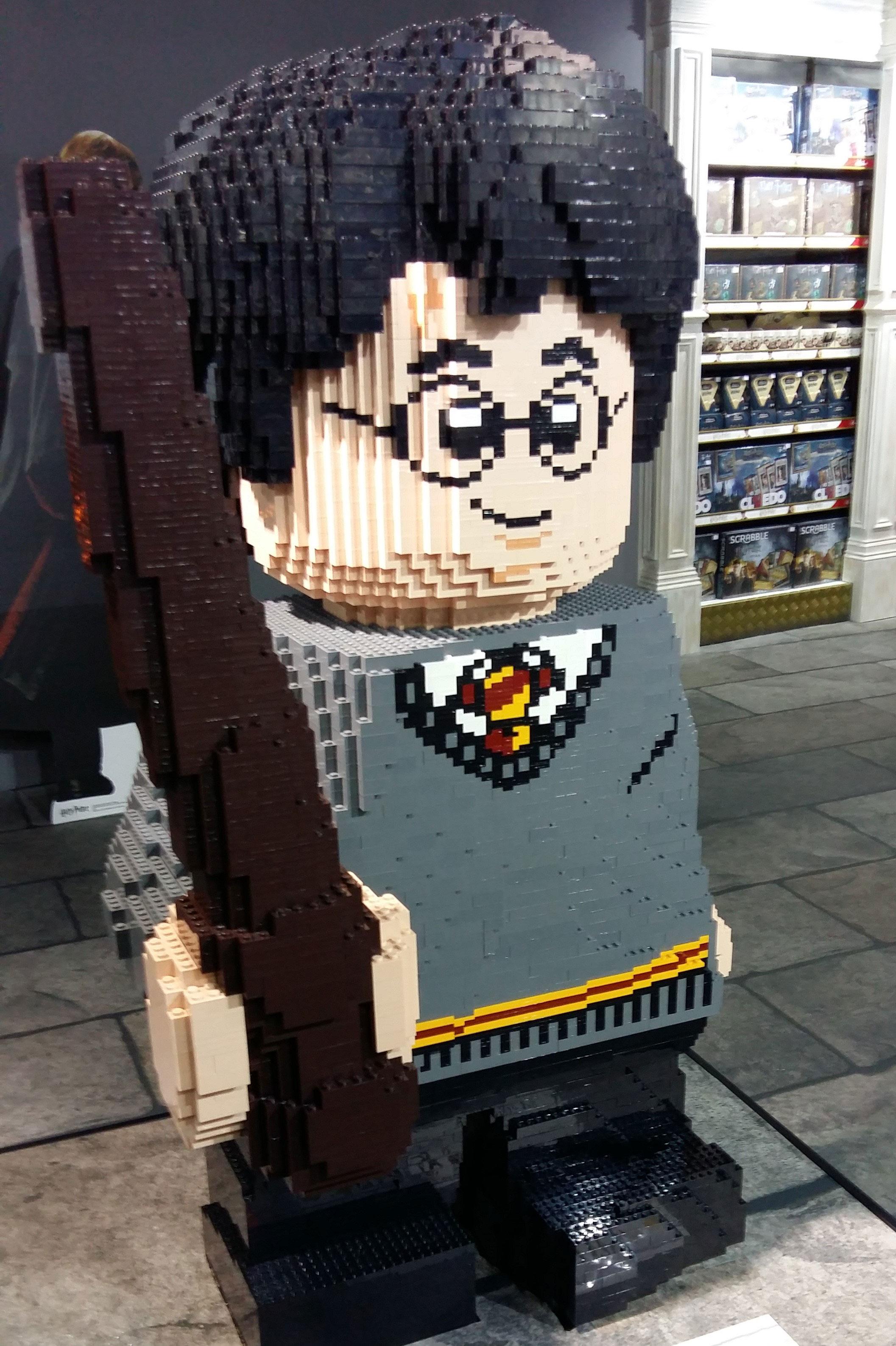 Large LEGO Harry built with individual LEGO bricks at Hamleys