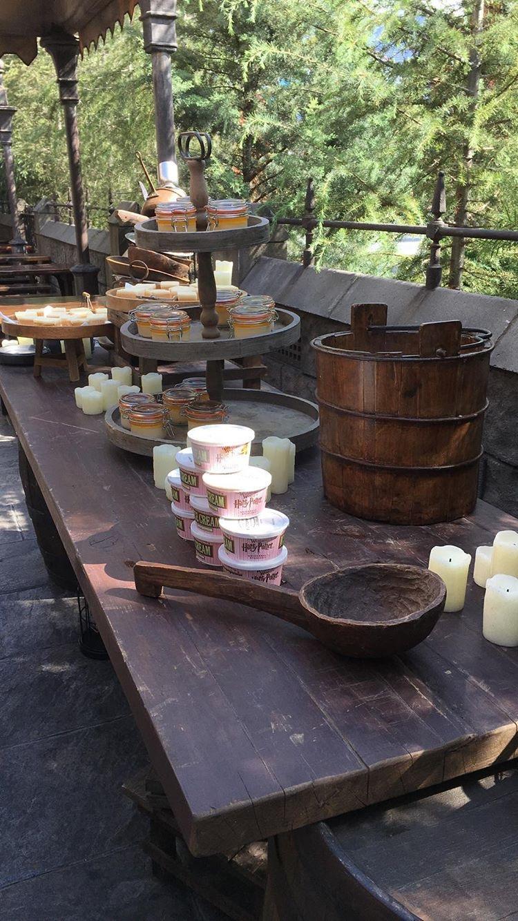 Butterbeer treats displayed at Universal Studios Hollywood