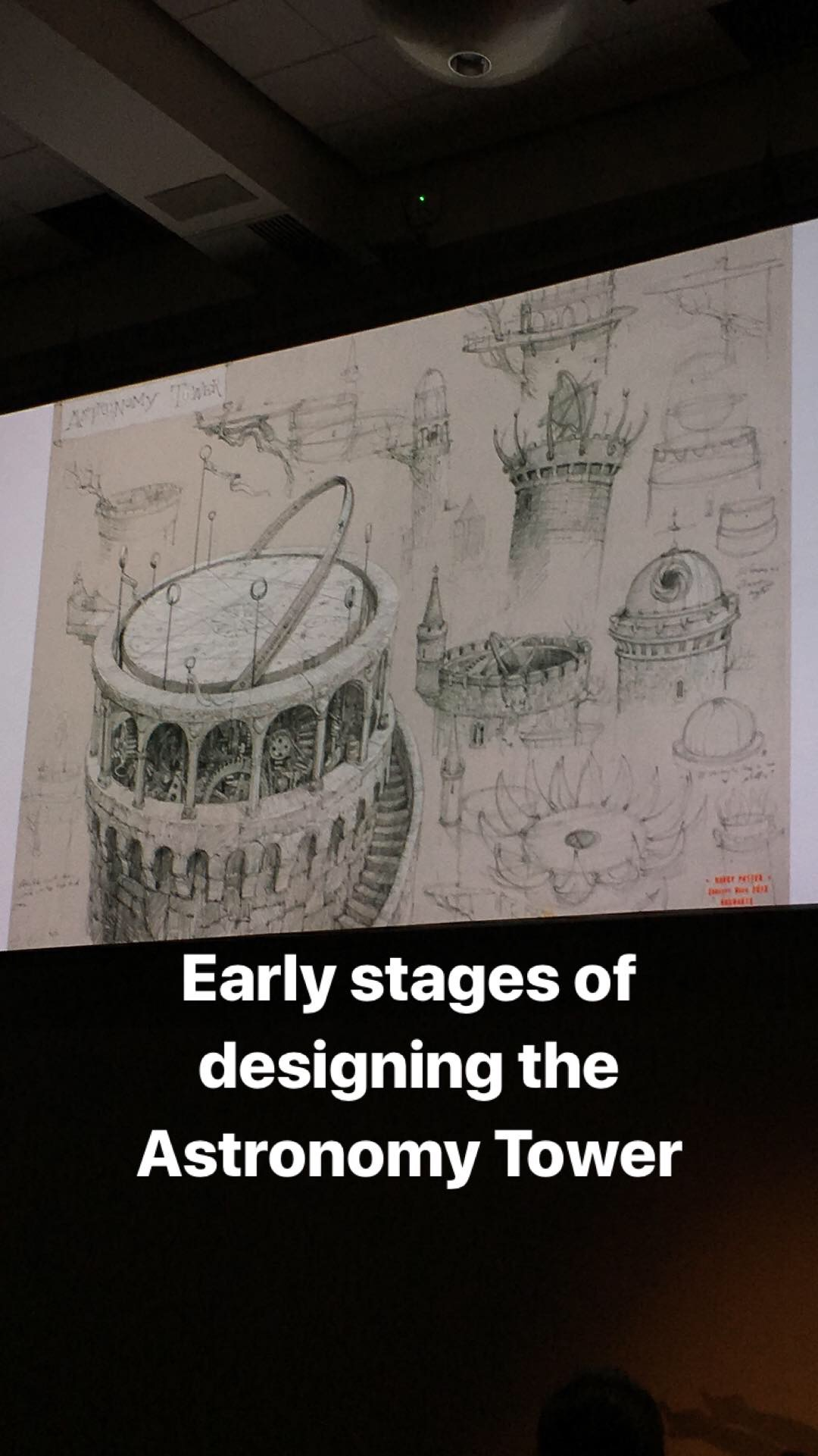 Early sketches by Jim Kay of the Hogwarts Astronomy Tower