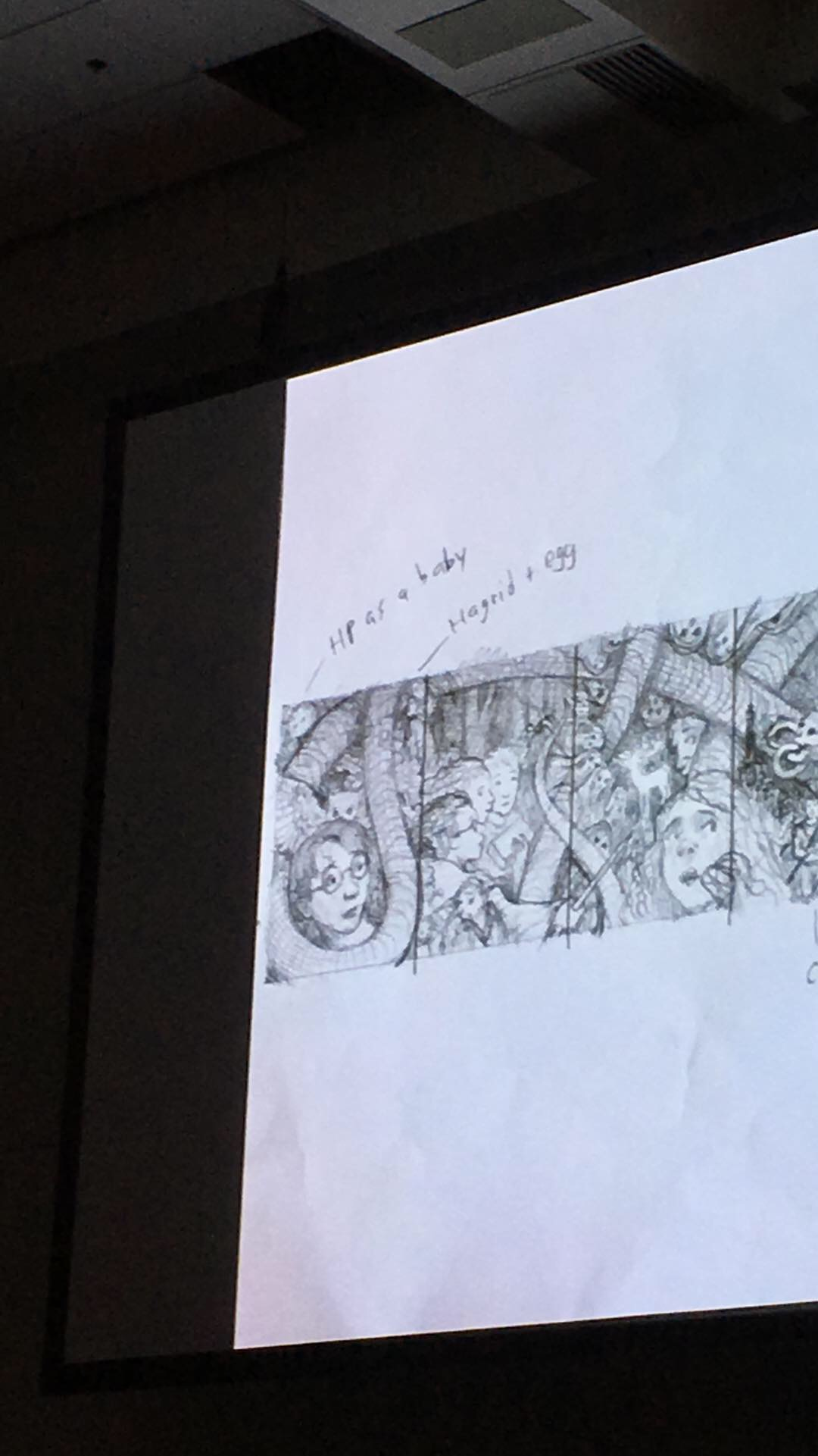 An early sketch of Brian Selznick's 20th-anniversary covers