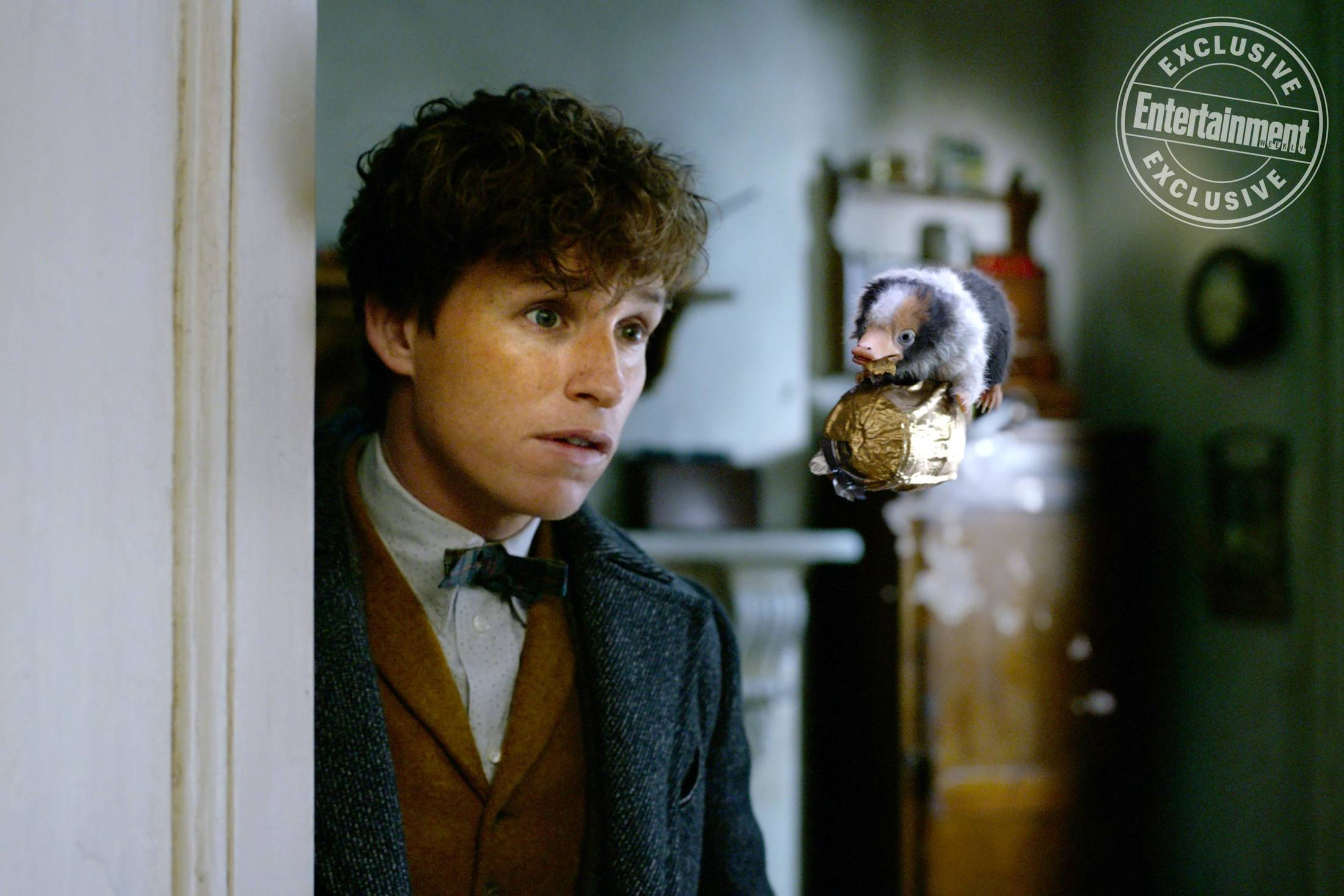 """Fantastic Beasts: The Crimes of Grindelwald"": Newt Scamander (Eddie Redmayne) with baby Niffler"