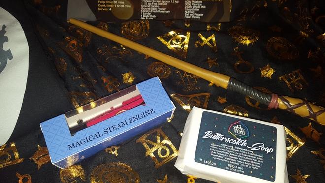 Geek Gear July 2018: Magical steam engine minature, butterscotch soap, and wand