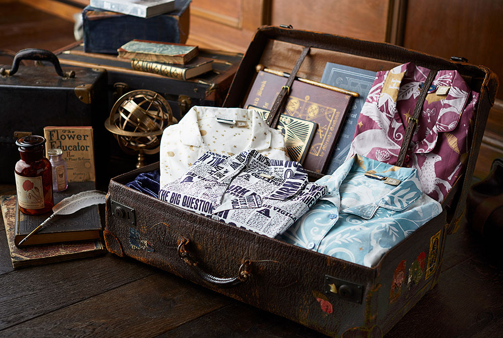 Pottery Barn shirts and suitcase
