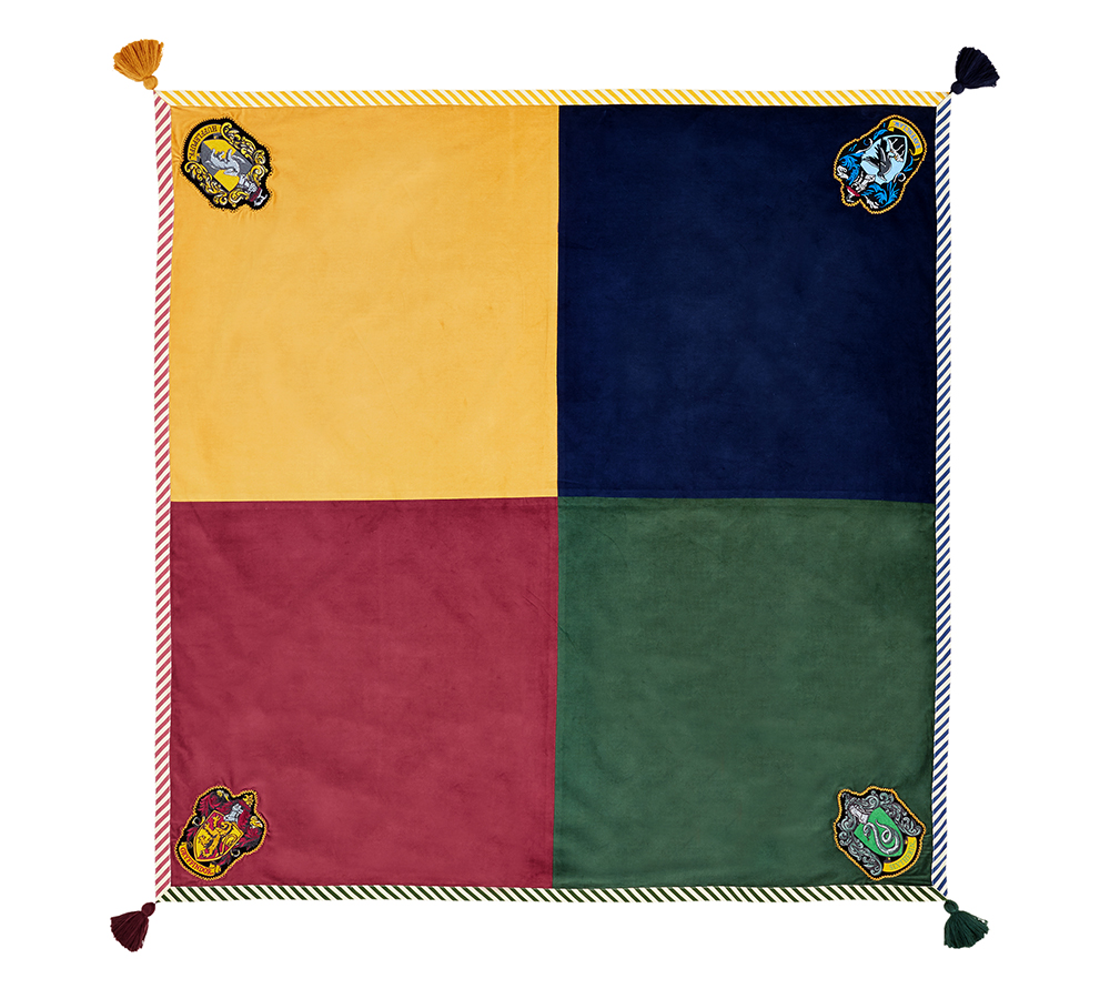 House crest table throw from above