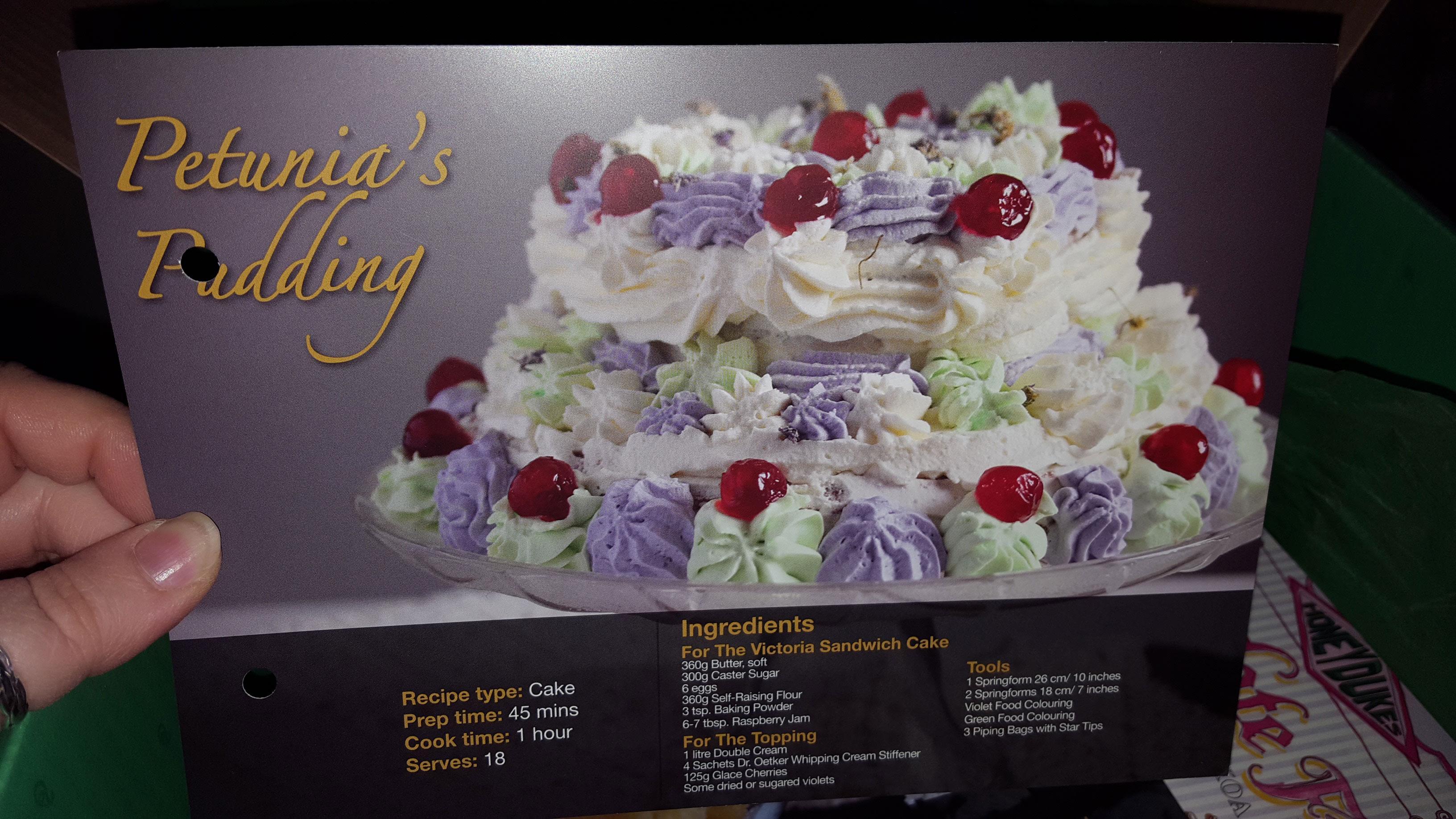Petunia's Pudding recipe card