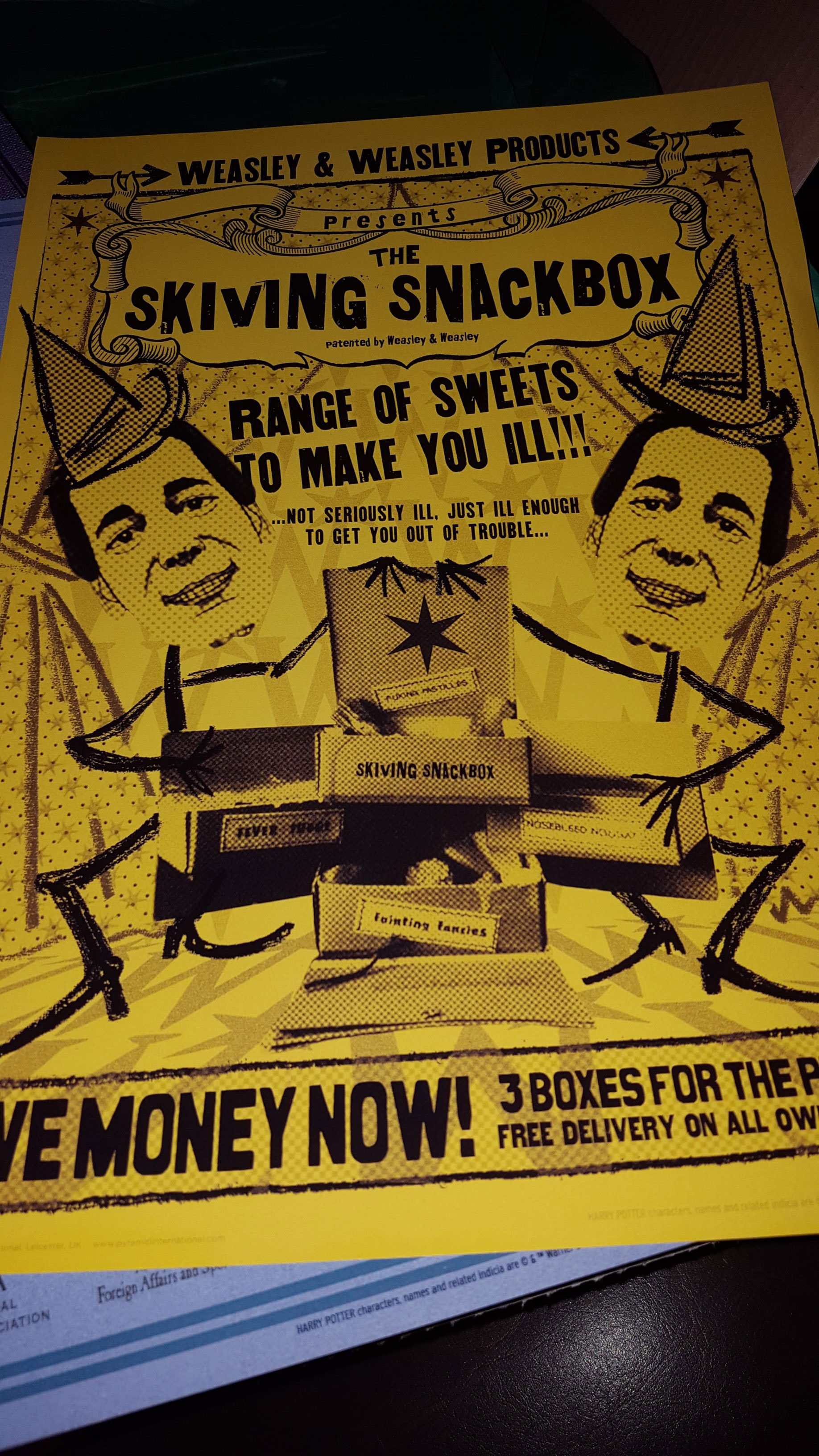 Skiving Snackboxes MinaLima poster art