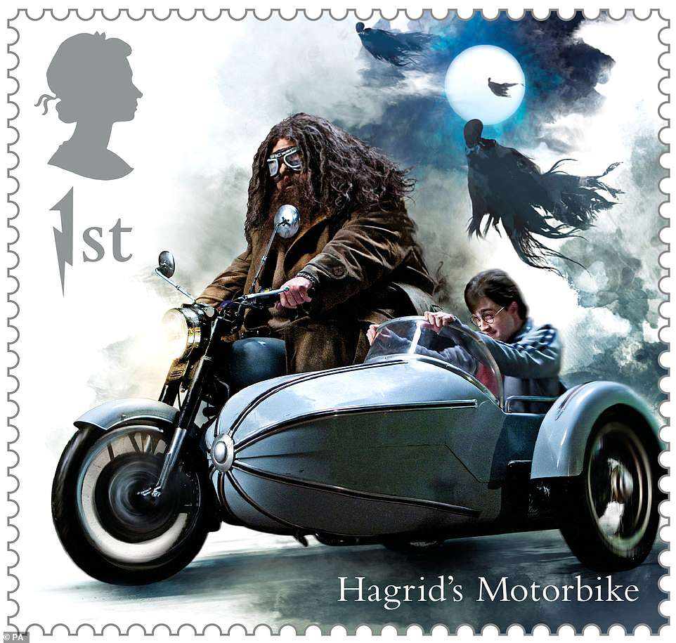Stamps will also feature Hagrid's enchanted motorcycle. It would be wise not to try kidnapping Harry from the sidecar; this motorcycle can literally spit fire!