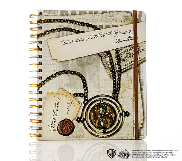Harry Potter weekly planner, featuring Time-Turner, Platform 9 3/4 ticket, Ministry of Magic seal, and note from Dumbledore