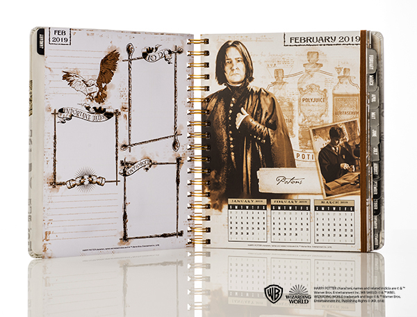 Harry Potter weekly planner from Con*Quest Journals, February inner page showing Snape and Potions class