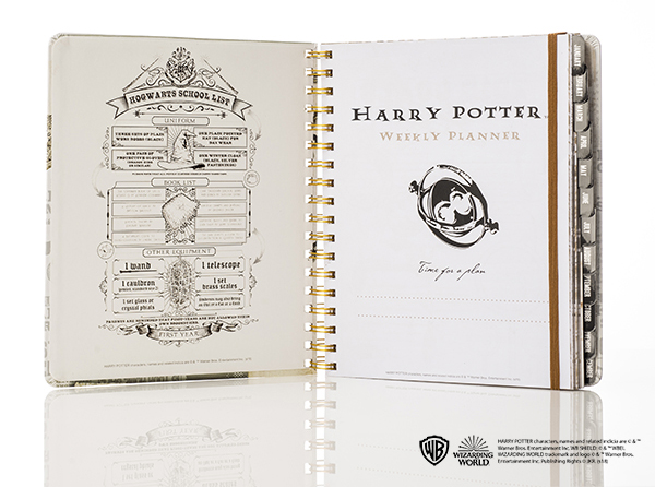 Harry Potter weekly planner from Con*Quest Journals, inside cover showing Time-Turner and school list of needed items