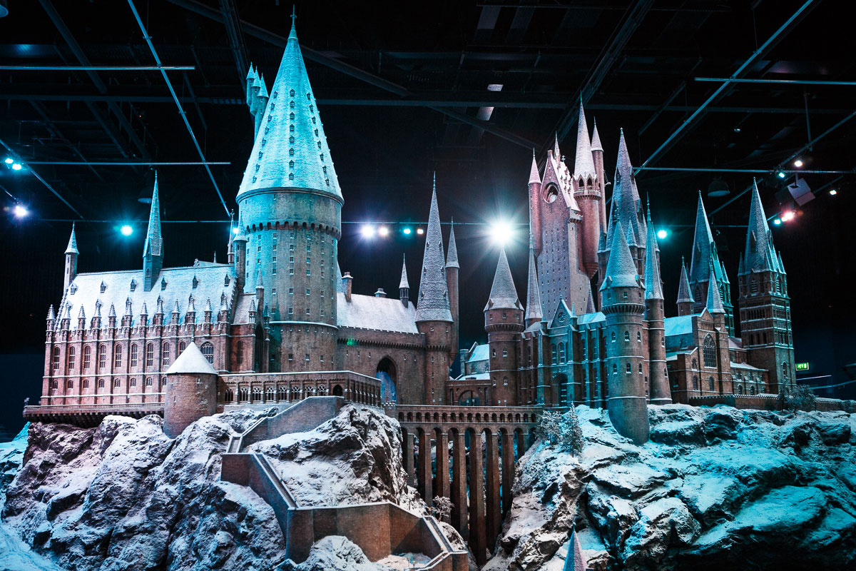 Scale model of Hogwarts Castle covered in snow