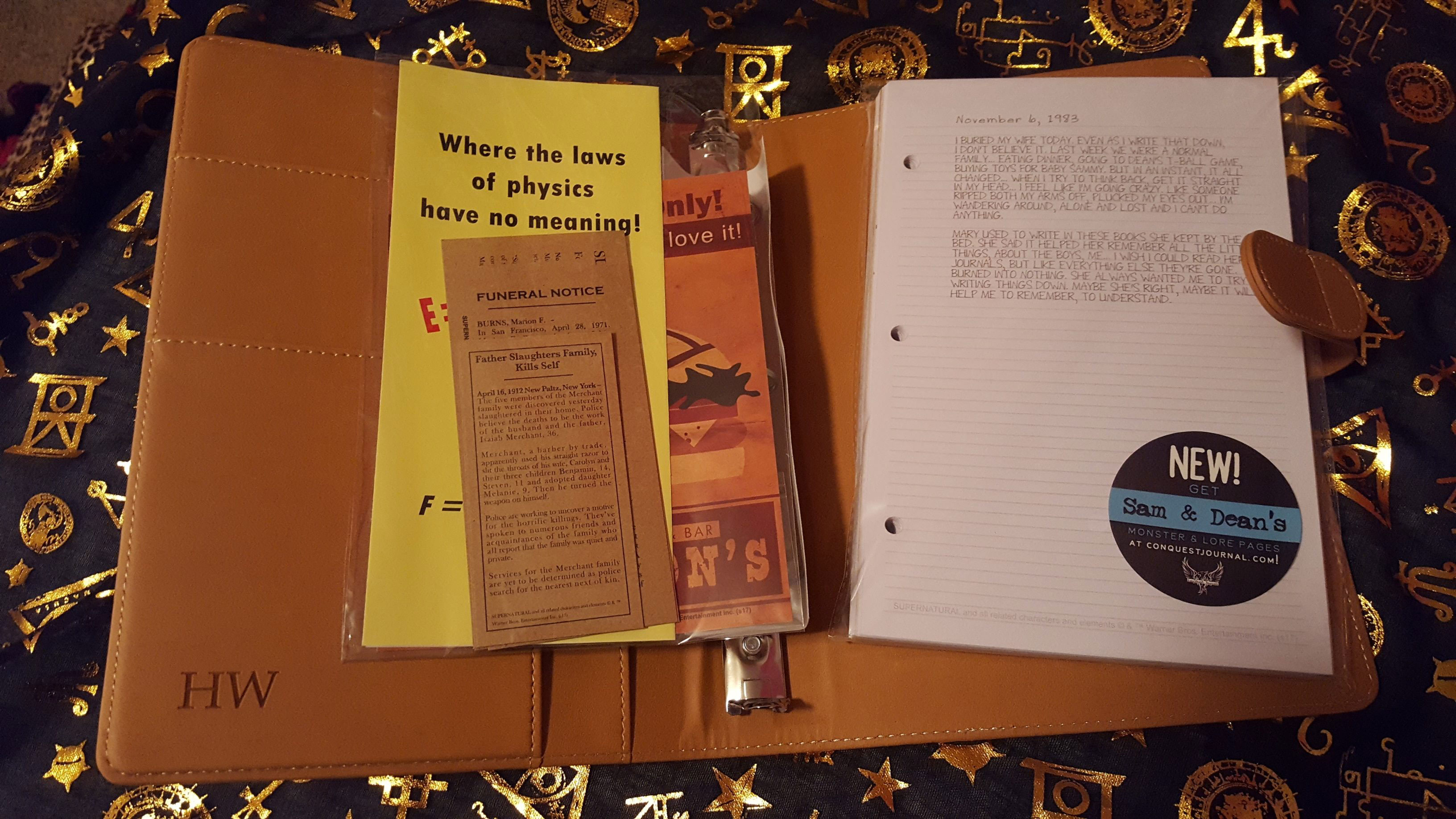 Inside the John Winchester replica journal, with journal entries, newspaper articles, and Mystery Spot and Biggerson's advertisements