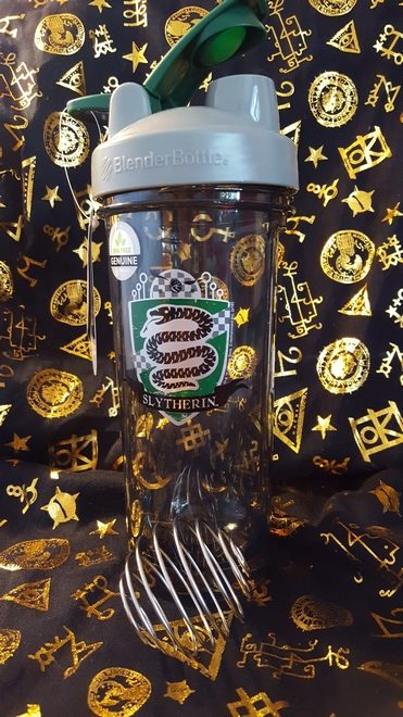 Slytherin BlenderBottle and wire whisk