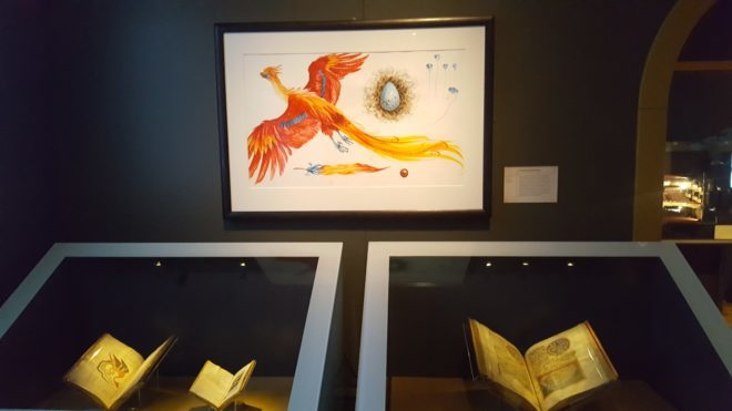 Sample of Jim Kay's artwork of a phoenix in the Care of Magical Creatures room