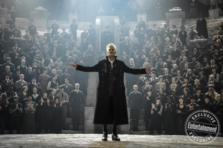 Grindelwald is holding his mass meetings in an amphitheater beneath the Lestrange mausoleum.