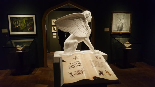 Depiction of a sphinx in the Defense Against the Dark Arts room