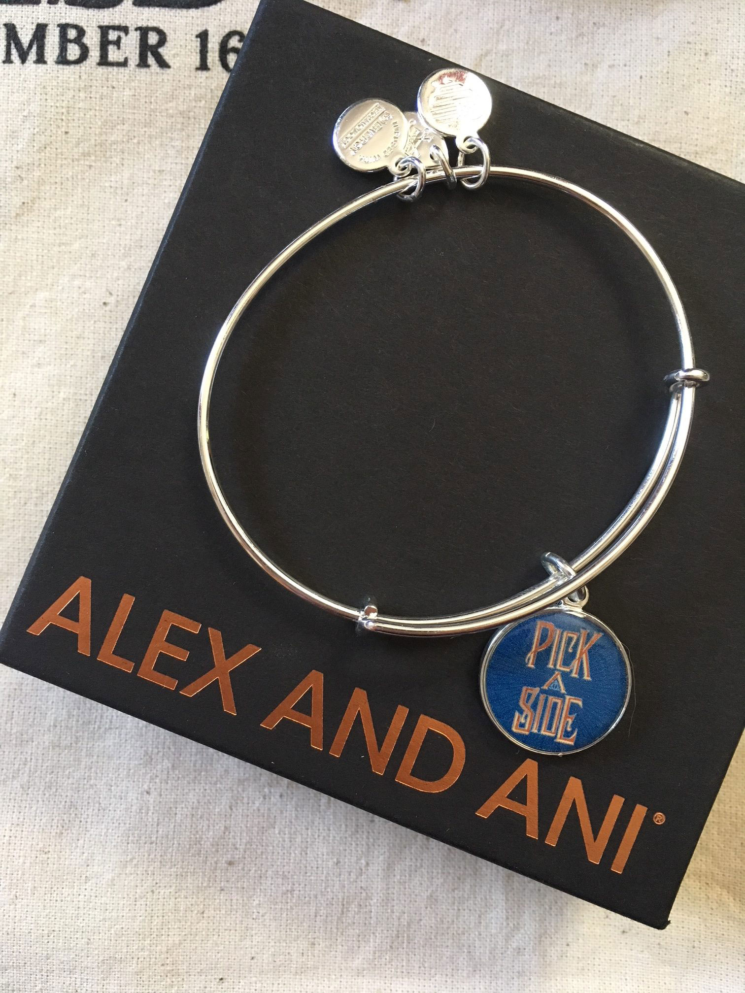 "Alex and Ani ""Fantastic Beasts"" bracelet featuring phrase ""Pick a side"""