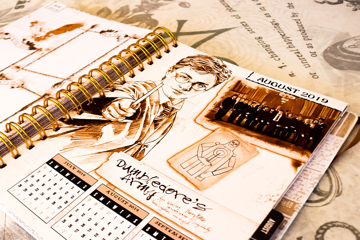 August 2019 page from the Harry Potter weekly planner featuring a sketch of Harry Potter and Dumbledore's Army signatures