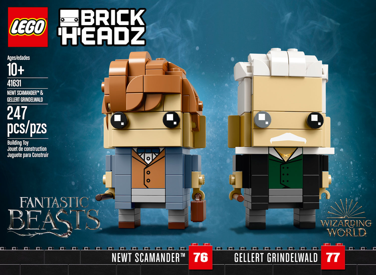 "The ""Fantastic Beasts"" BrickHeadz are made up of 247 pieces and are over 2″ tall without the display baseplate."