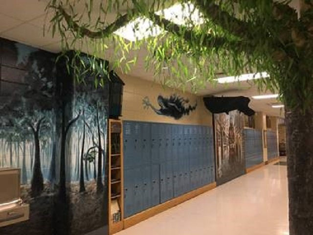 Dementors roam the hallway next to the Forbidden Forest and Whomping Willow.