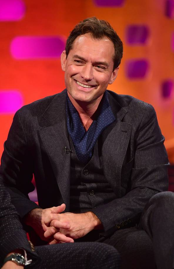 "Jude Law smiles during his interview on ""The Graham Norton Show""."
