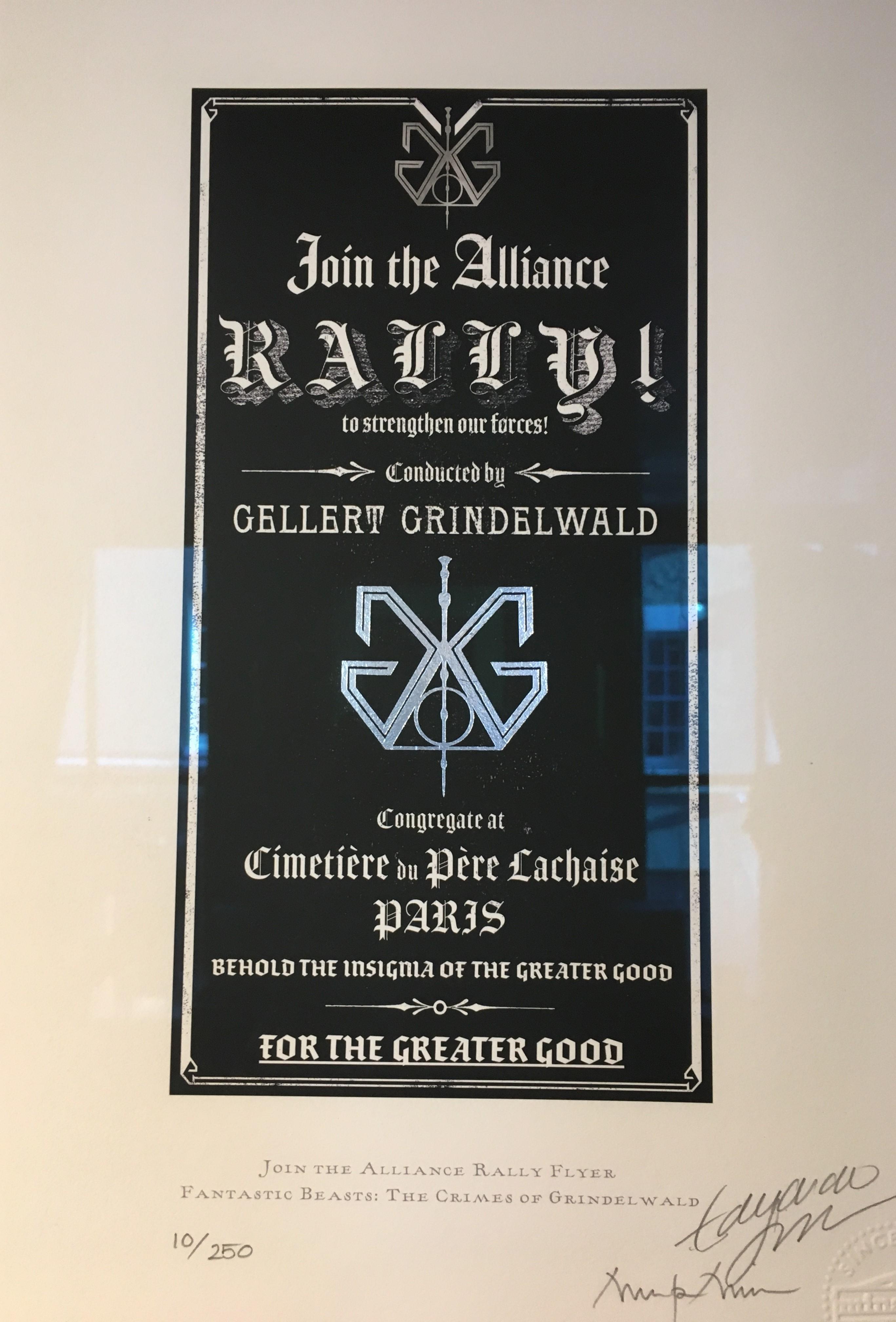 "Grindelwald rally flyer – Design by MinaLima for ""Crimes of Grindelwald"""