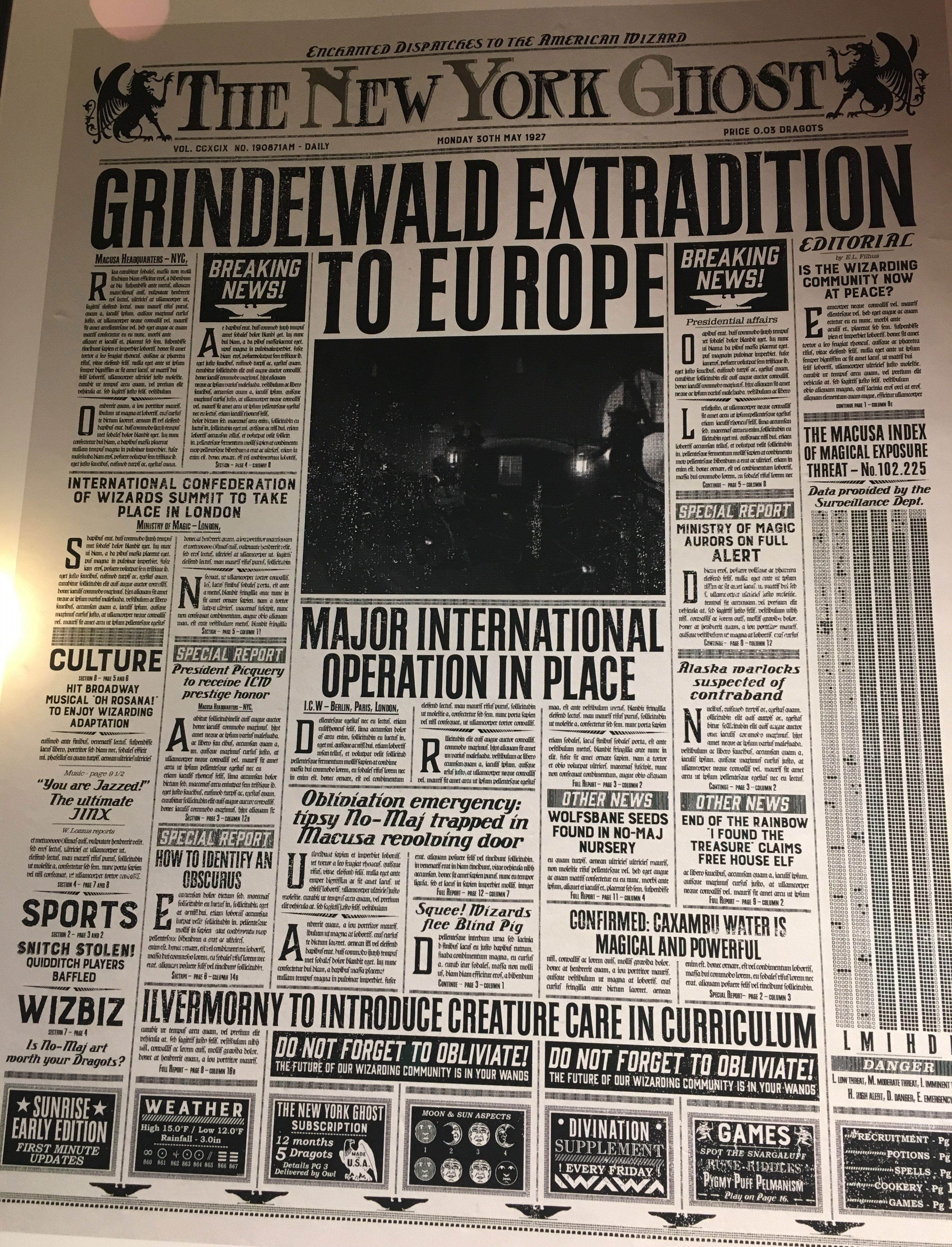 """The New York Ghost"" – Design by MinaLima for ""Crimes of Grindelwald"""