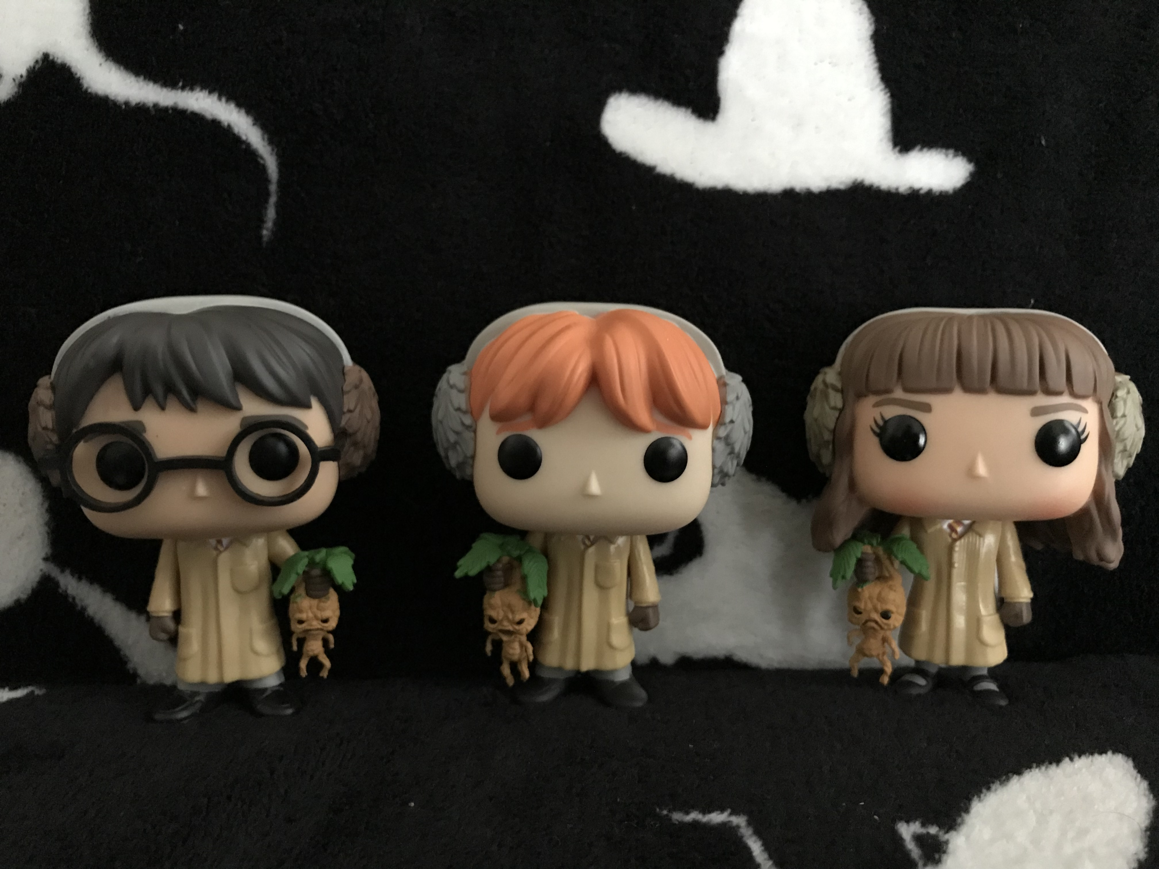 Harry, Ron and Hermione all ready for Herbology class
