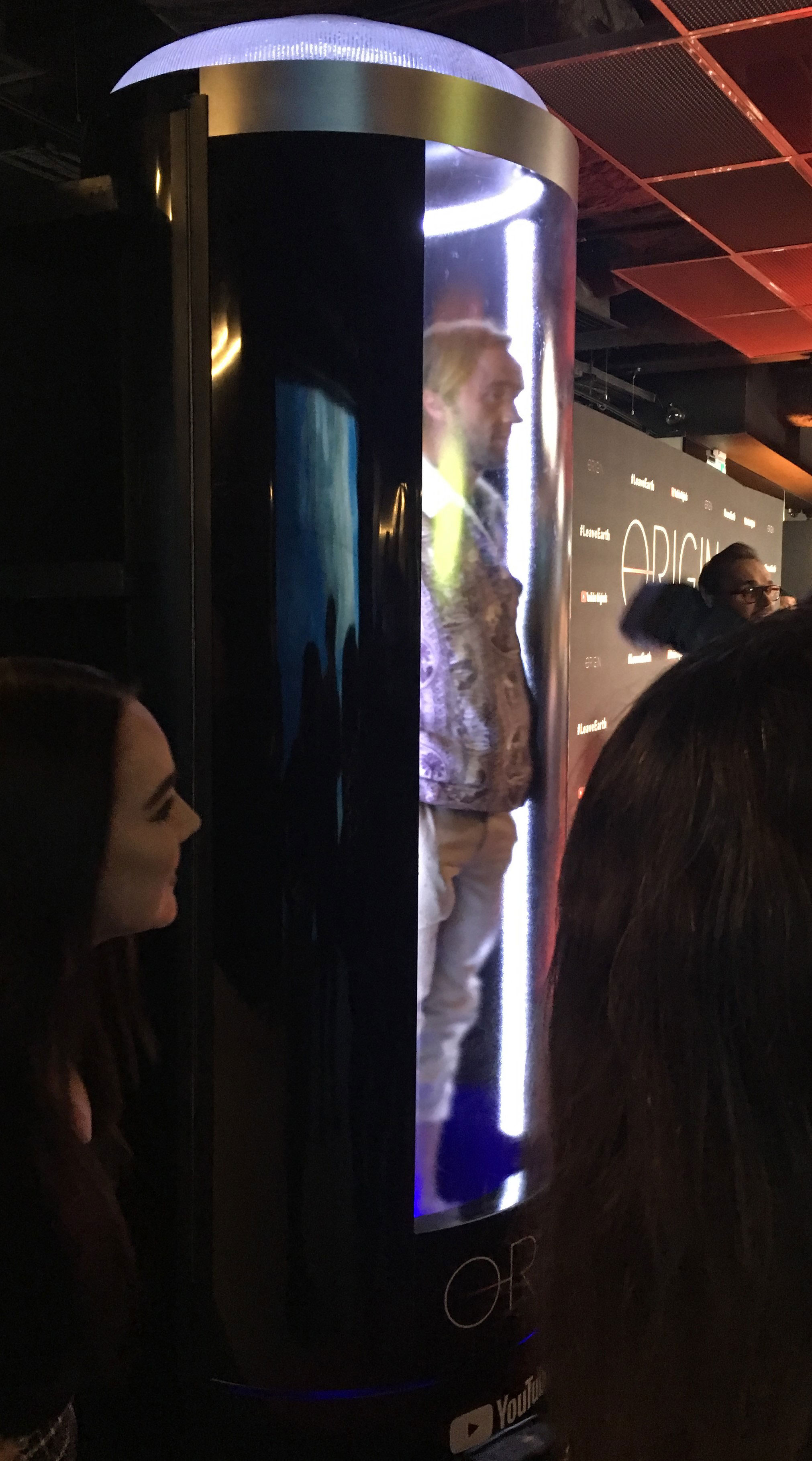 """Tom Felton in the cryochamber photobooth at the """"Origin"""" series premiere"""