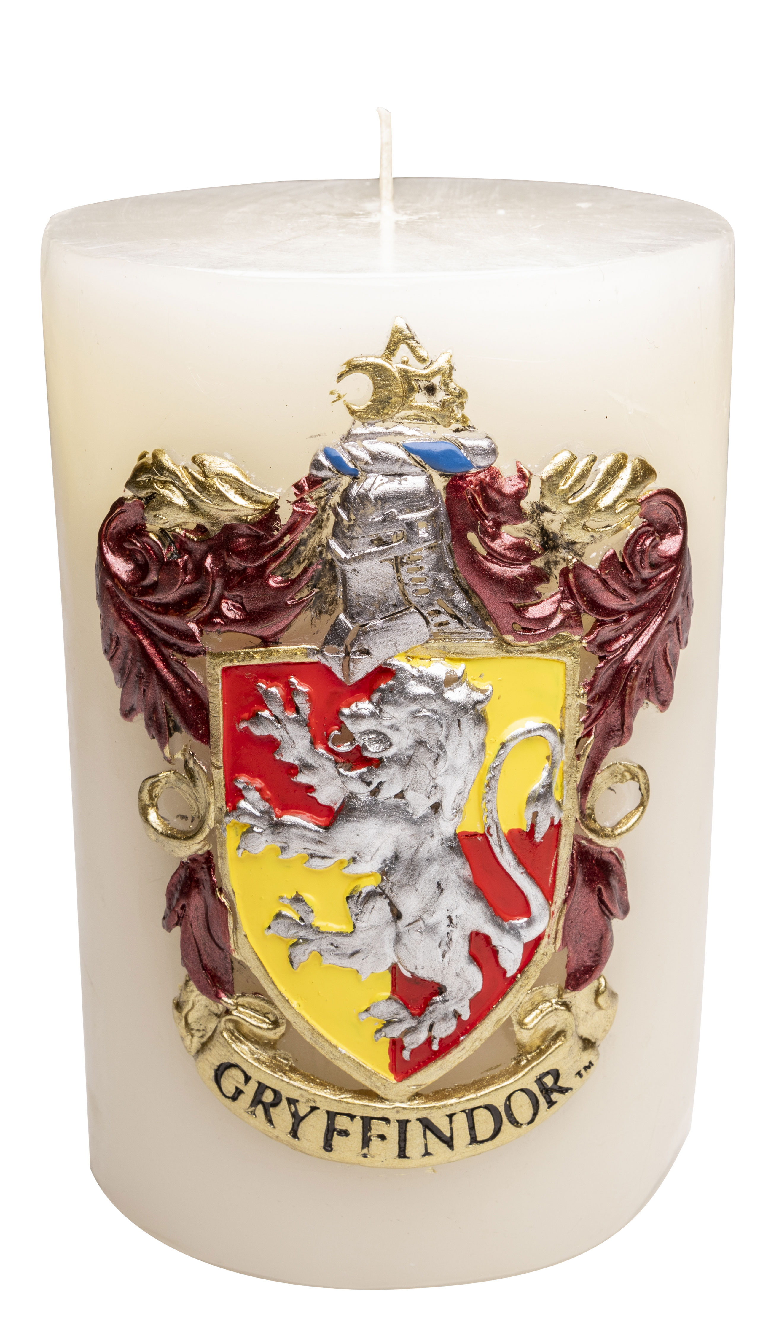 """""""Harry Potter"""" Luminary Sculpted Candle from Insight Editions, featuring Gryffindor House"""